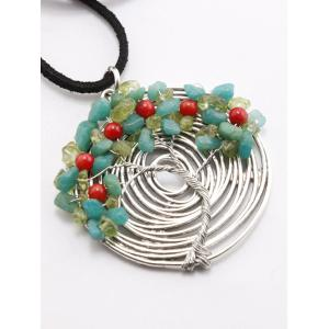 Spiral Chain Life Tree Pendant Necklace -