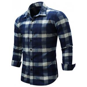 Color Block Checked Turn-Down Collar Long Sleeve Shirt - DEEP BLUE L