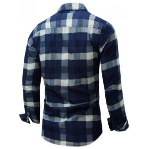 Color Block Checked Turn-Down Collar Long Sleeve Shirt - DEEP BLUE 2XL