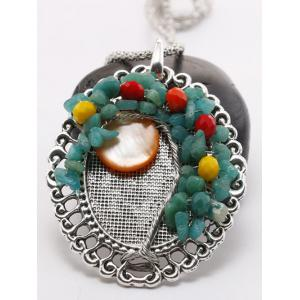 Handmade Beaded Floral Round Pendant Necklace -