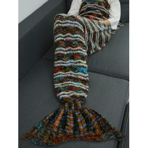 Winter Thicken Knitted Sleeping Bag Wrap Sofa Mermaid Blanket - COLORMIX