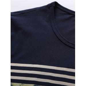 Crew Neck Stripe and Floral Print Short Sleeve T-Shirt - SAPPHIRE BLUE 2XL
