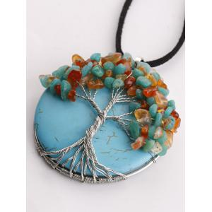 Handmade Beaded Tree Round Necklace - TURQUOISE BLUE