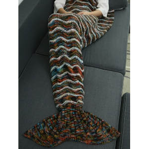 Winter Thicken Knitted Stripe Sleeping Bag Wrap Sofa Mermaid Blanket -