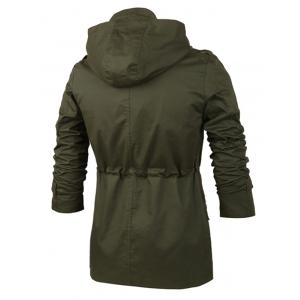 Single Breasted Applique Embellished Drawstring Hooded Jacket - ARMY GREEN 2XL