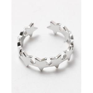 Polished Tiered Star Casual Cuff Ring - SILVER WHITE