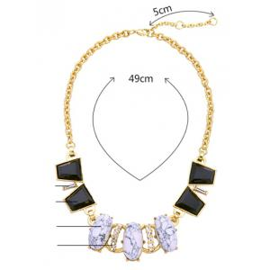 Faux Gem Rhinestone Oval Necklace -