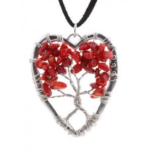 Hollow Heart Beaded Pendant Necklace -
