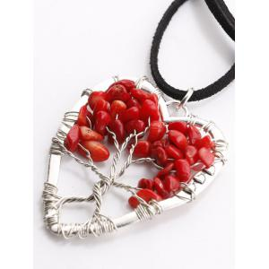 Hollow Heart Beaded Pendant Necklace - RED