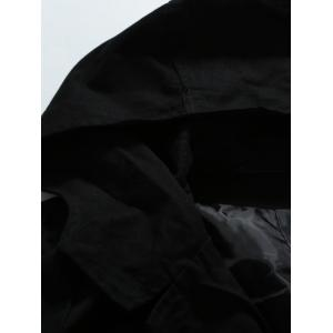 Hooded Double-Breasted Lengthen Coat - BLACK 2XL