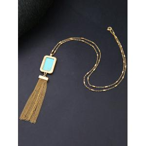 Faux Turquoise Alloy Geometric Sweater Chain -