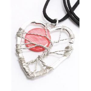 Hollow Handmade Heart Pendant Necklace - RED