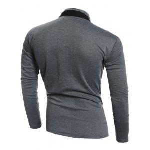 Single-Breasted Stand Collar Pockets Design Jacket - DEEP GRAY L