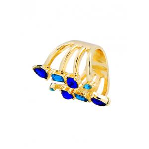 Alloy Faux Sapphire Cuff Ring -