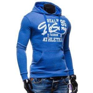95 Printed Color Block Pullover Hoodie - BLUE XL
