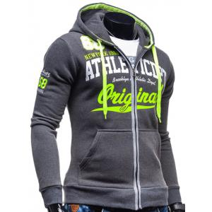 Hooded Zip-Up Graphic Print Hoodie -