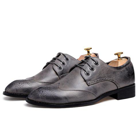 Fashion Pointed Toe Tie Up Engraving Formal Shoes - 43 GRAY Mobile
