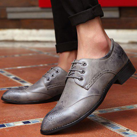 Fashion Pointed Toe Tie Up Engraving Formal Shoes - 41 GRAY Mobile