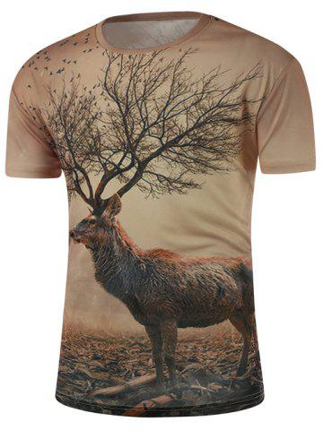 Chic Round Neck 3D Abstract Deer Print Short Sleeve T-Shirt COLORMIX 2XL