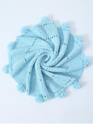 Outfits Pompon Edge Hollow Out Crochet Knit Round Blanket LIGHT BLUE ONE SIZE(FIT SIZE XS TO M)