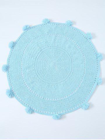 Fancy Pompon Edge Hollow Out Crochet Knit Round Blanket - ONE SIZE(FIT SIZE XS TO M) LIGHT BLUE Mobile