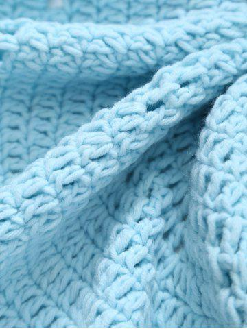 Trendy Pompon Edge Hollow Out Crochet Knit Round Blanket - ONE SIZE(FIT SIZE XS TO M) LIGHT BLUE Mobile