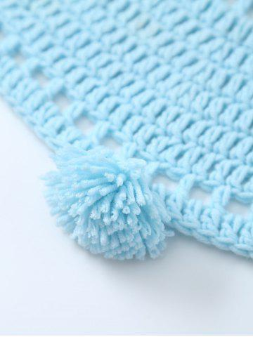 Shop Pompon Edge Hollow Out Crochet Knit Round Blanket - ONE SIZE(FIT SIZE XS TO M) LIGHT BLUE Mobile