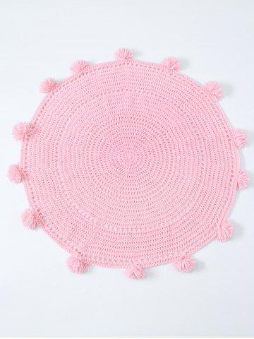 Shop Pompon Edge Hollow Out Crochet Knit Round Blanket - ONE SIZE(FIT SIZE XS TO M) PINK Mobile