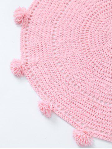 Hot Pompon Edge Hollow Out Crochet Knit Round Blanket - ONE SIZE(FIT SIZE XS TO M) PINK Mobile