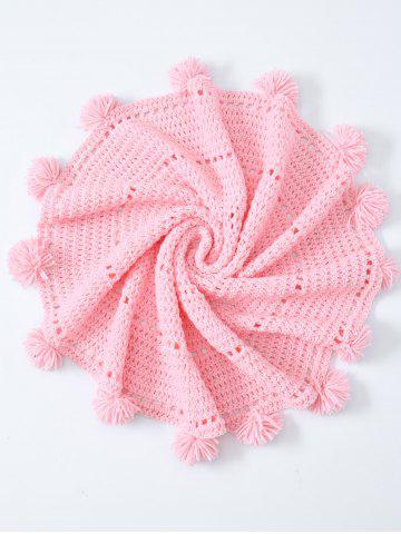 Trendy Pompon Edge Hollow Out Crochet Knit Round Blanket PINK ONE SIZE(FIT SIZE XS TO M)