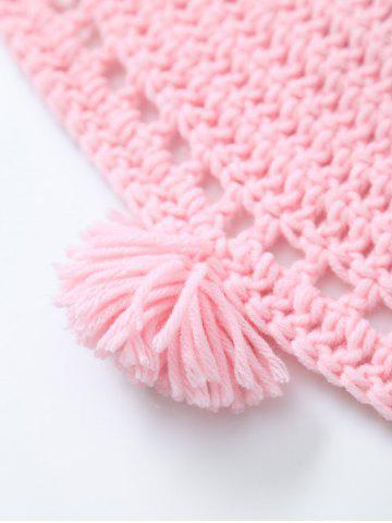 Latest Pompon Edge Hollow Out Crochet Knit Round Blanket - ONE SIZE(FIT SIZE XS TO M) PINK Mobile
