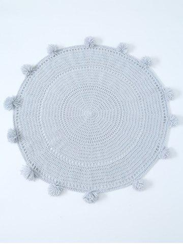 Hot Pompon Edge Hollow Out Crochet Knit Round Blanket - ONE SIZE(FIT SIZE XS TO M) LIGHT GRAY Mobile
