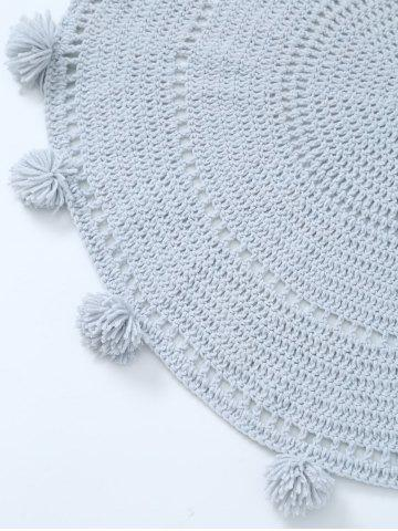 Outfits Pompon Edge Hollow Out Crochet Knit Round Blanket - ONE SIZE(FIT SIZE XS TO M) LIGHT GRAY Mobile