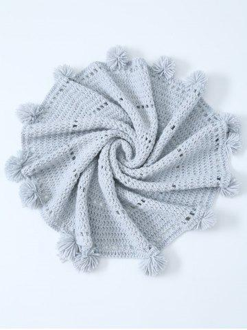 Shop Pompon Edge Hollow Out Crochet Knit Round Blanket - ONE SIZE(FIT SIZE XS TO M) LIGHT GRAY Mobile
