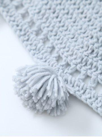 Fashion Pompon Edge Hollow Out Crochet Knit Round Blanket - ONE SIZE(FIT SIZE XS TO M) LIGHT GRAY Mobile