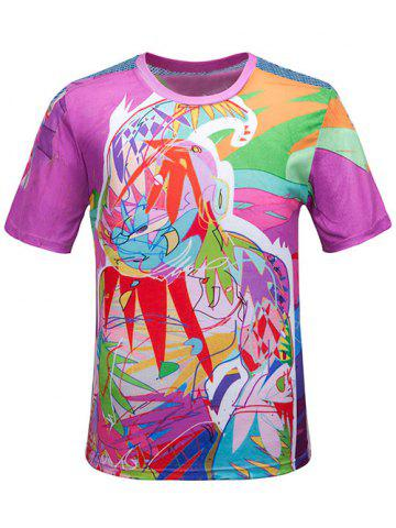 Hot Round Neck 3D Color Block Scrawl Print Short Sleeve T-Shirt