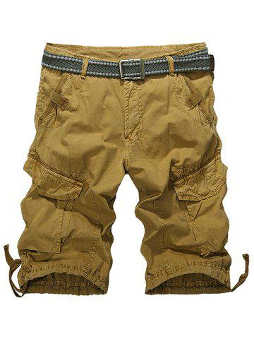Knee Length Multi-Pocket Zipper Fly Cargo Shorts - KHAKI 38