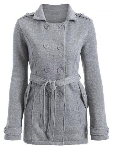Online Double-Breasted Fitted Belted Overcoat GRAY M