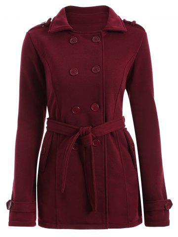 Sale Double-Breasted Fitted Belted Overcoat WINE RED M