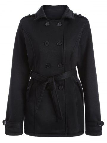 Cheap Double-Breasted Fitted Belted Overcoat BLACK M