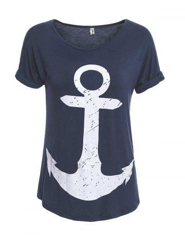 Cuffed Sleeve Anchor Print Tee - Cadetblue - S