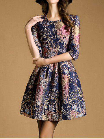Shops Zipper Up Jacquard Fit and Flare Dress