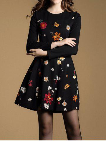 Store Tiny Floral Fit and Flare Dress BLACK 2XL