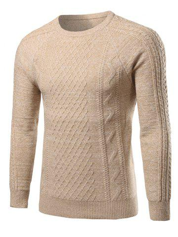Cheap Heathered Geometric Pattern Raglan Sleeve Sweater BEIGE 2XL