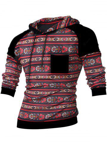Buy Tribal Print Contrast Pocket Raglan Sleeve Hoodie BLACK XL