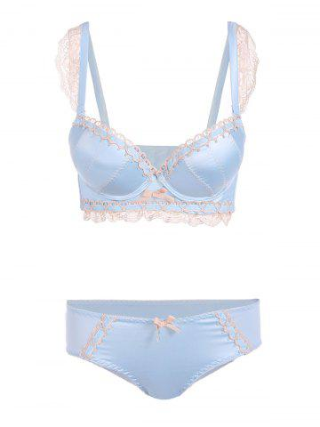 Unique Padded Lace Embroidered Push Up Bra Set - 75C LIGHT BLUE Mobile