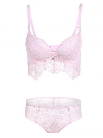 Best Lace Underwire Push Up Bra Set - 75A PINK Mobile