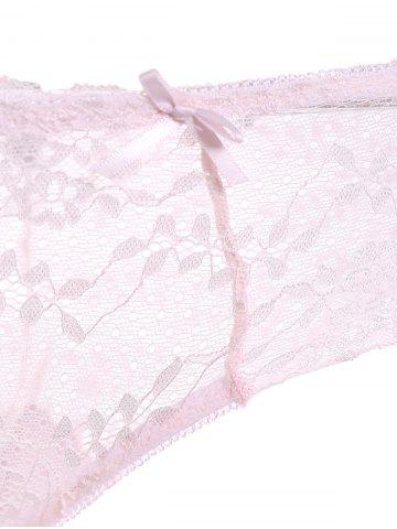 Discount Lace Underwire Push Up Bra Set - 75A PINK Mobile