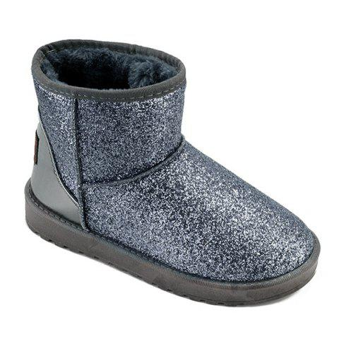 Store Splicing Sequined Cloth Flat Heel Snow Boots SILVER 37