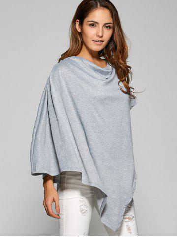 Unique Asymmetrical Cape Loose T-Shirt GRAY XL